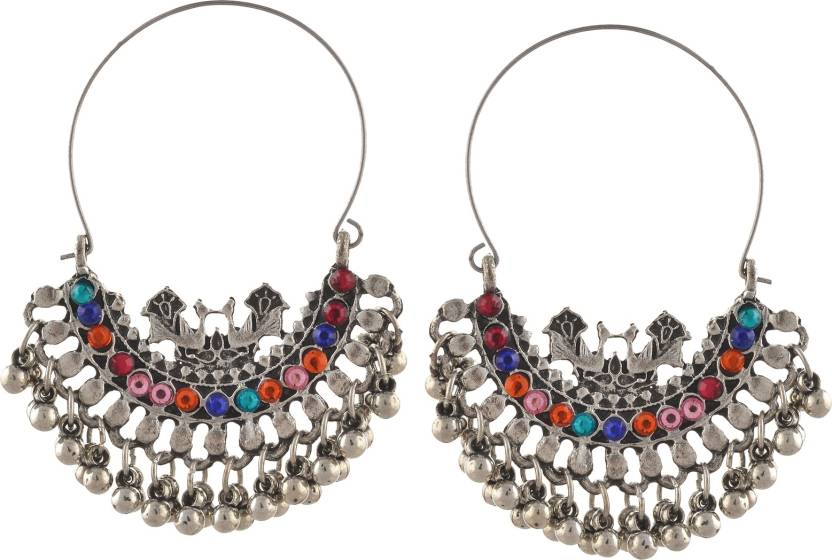 3170d3413 Flipkart.com - Buy Zephyrr Fashion Oxidized Silver Beaded Chandbali Hoop  Earrings Rhinestones Alloy Dangle Earring Online at Best Prices in India
