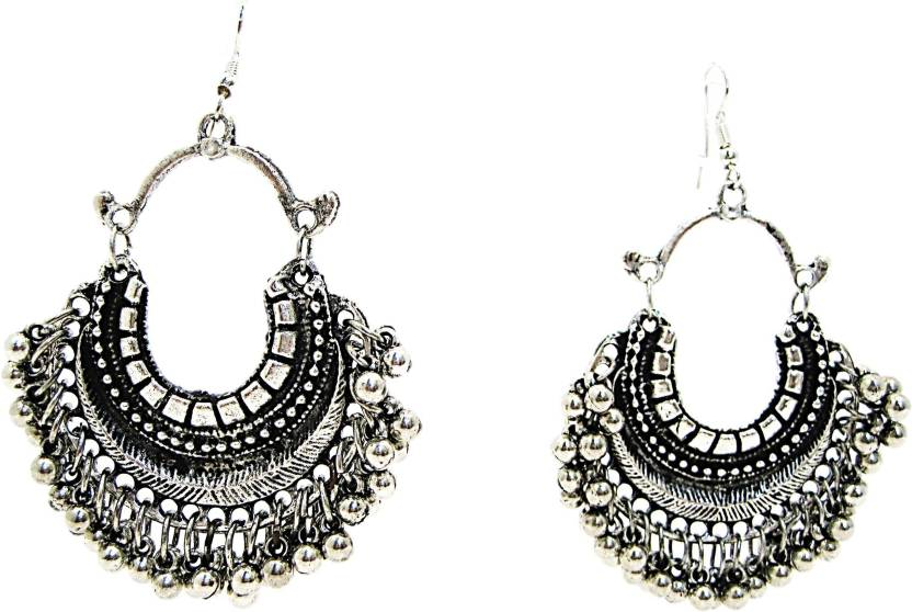 Muccasacra Crazy Silver Afghani Alloy Chandbali Earring Dangle Jhumki
