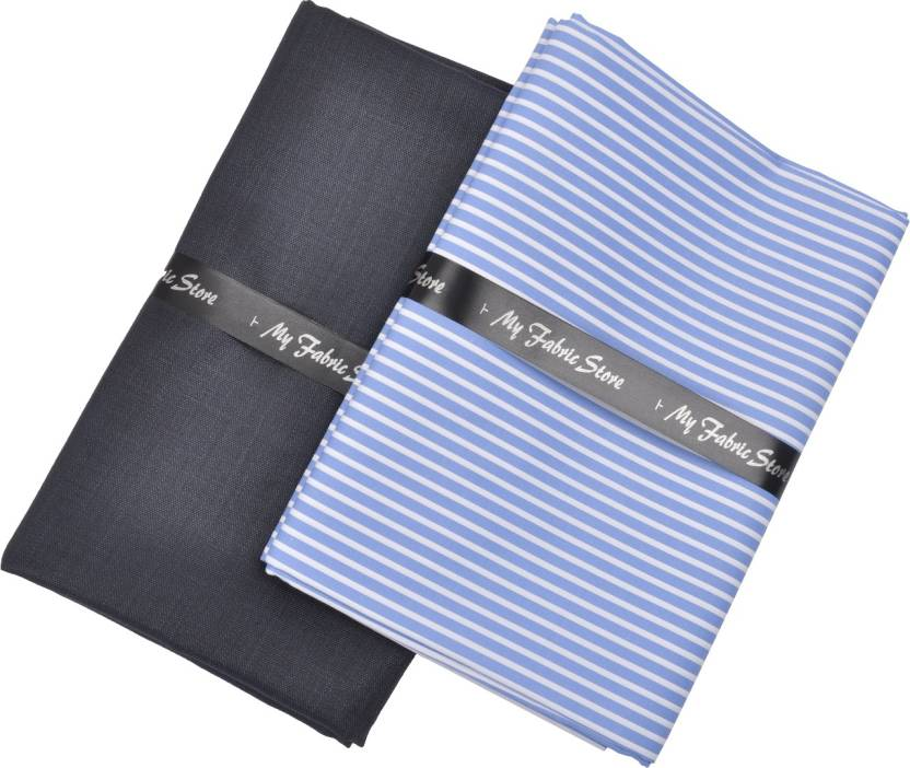 d1f9ae20052 My Fabric Store Cotton Polyester Blend Striped Shirt   Trouser Fabric  (Un-stitched)