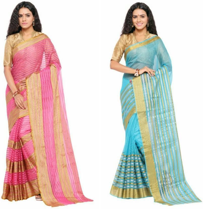 sarvagny clothing Woven Kanjivaram Kota Cotton Saree  (Pack of 2, Pink, Blue)