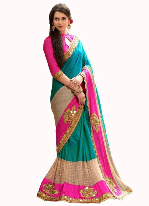 bd9ac8a378448f IndianEfashion Embroidered Fashion Lycra Saree (Light Blue