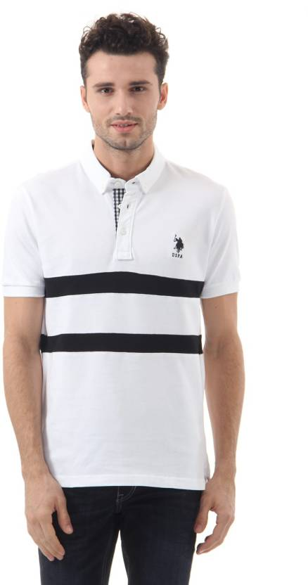 U S Polo Assn Solid Men Polo Neck White T Shirt Buy White U S