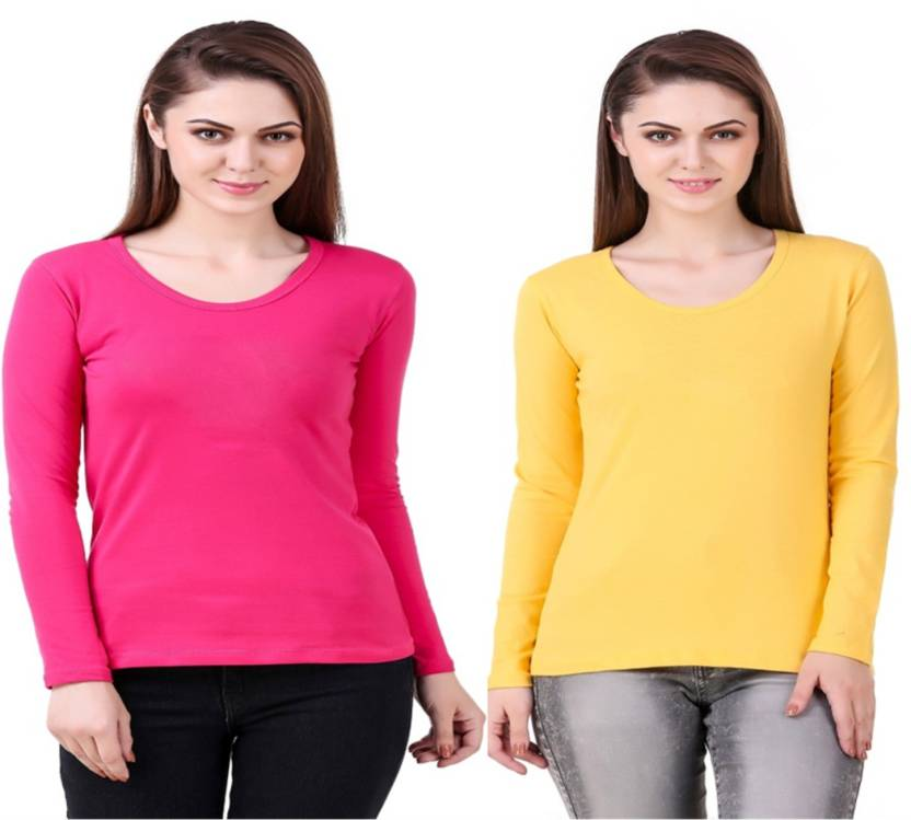 60e47270 99 Affair Solid Women Round Neck Yellow, Pink T-Shirt - Buy 99 ...