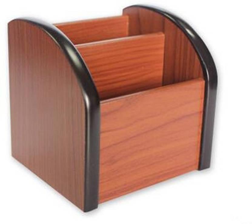 Jamboree 2 Compartments Wooden High Quality Pen Holder Stationery Pots Desk Organizer Pencil