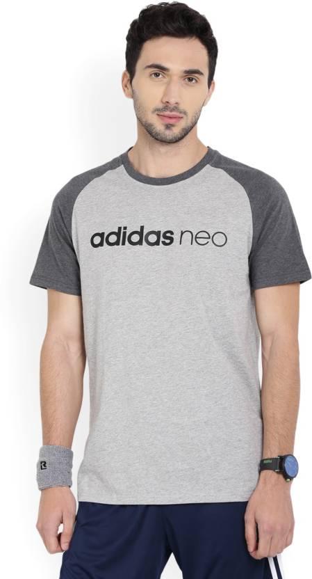 Adidas Neo Solid Mens Round Neck Grey T-Shirt
