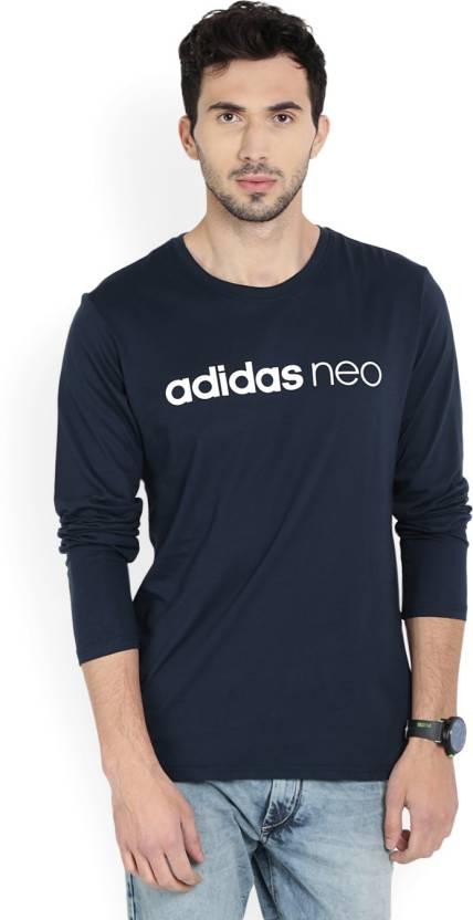 Round Men's Blue Shirt Neo Printed Neck T WhiteDark Adidas rCQtshd