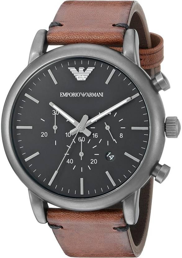 Emporio Armani AR1919 Dress Chronograph Black Dial Watch - For Men ...