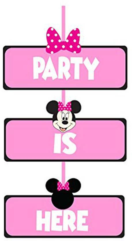 PARTY PROPZ Pink MINNIE MOUSE BIRTHDAY DECORATION DOOR BOARD SE OF 1 SUPPLIES