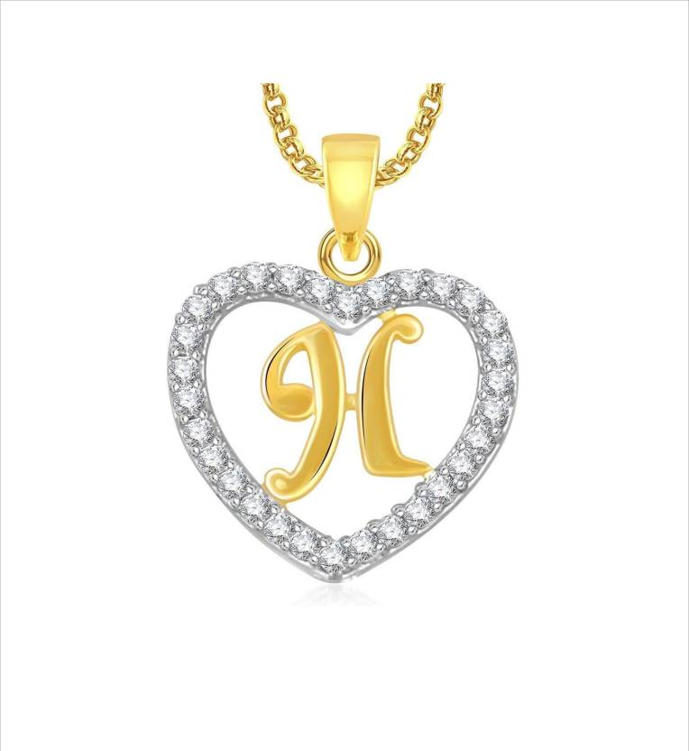 Stylish Teens Trendy Alphabet \'H\' Letter Heart Locket With Chain ...