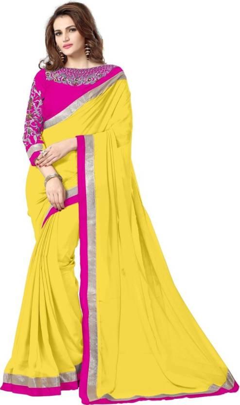 39c0393af9a670 OM DESIGNER Solid Bollywood Chiffon Saree (Yellow