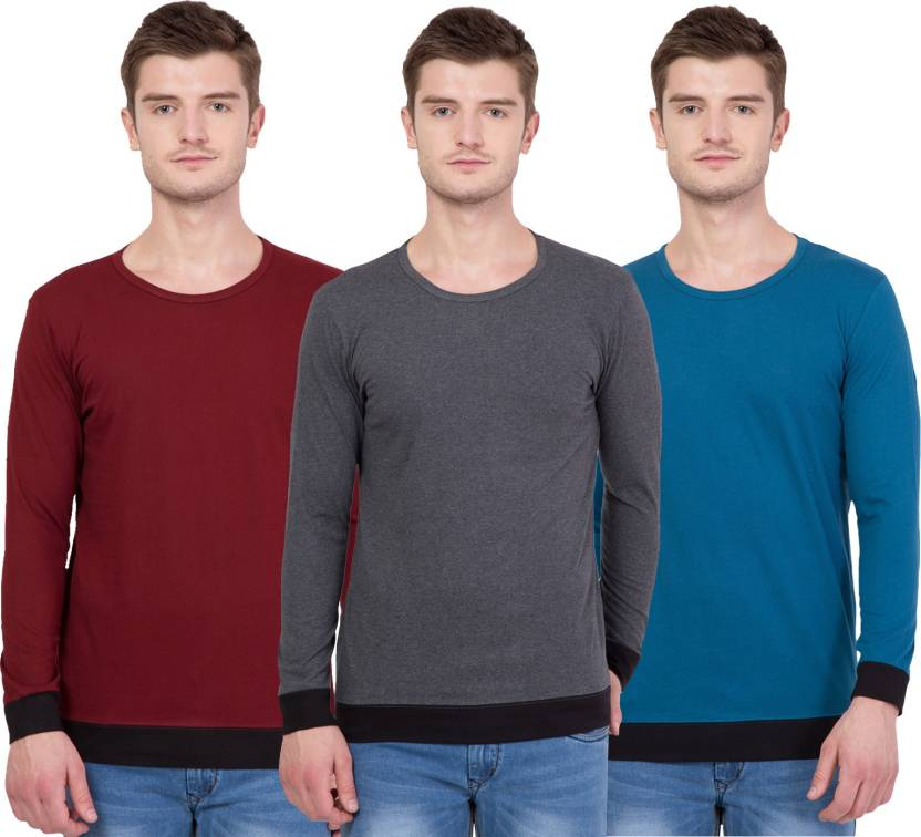 Unisopent Designs Solid Mens Round Neck Maroon, Light Blue, Grey T-Shirt  (Pack of 3)