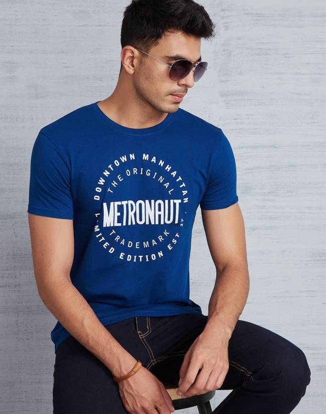 Metronaut Printed Mens Round Neck Dark Blue T-Shirt