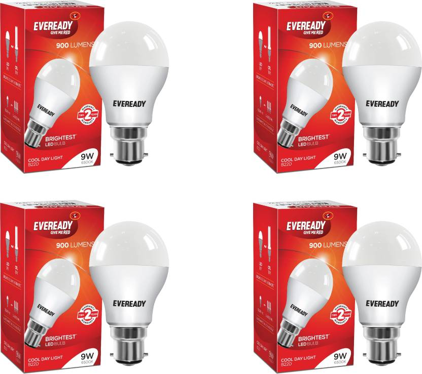 Eveready 9 W B22 LED Bulb  (White, Pack of 4)