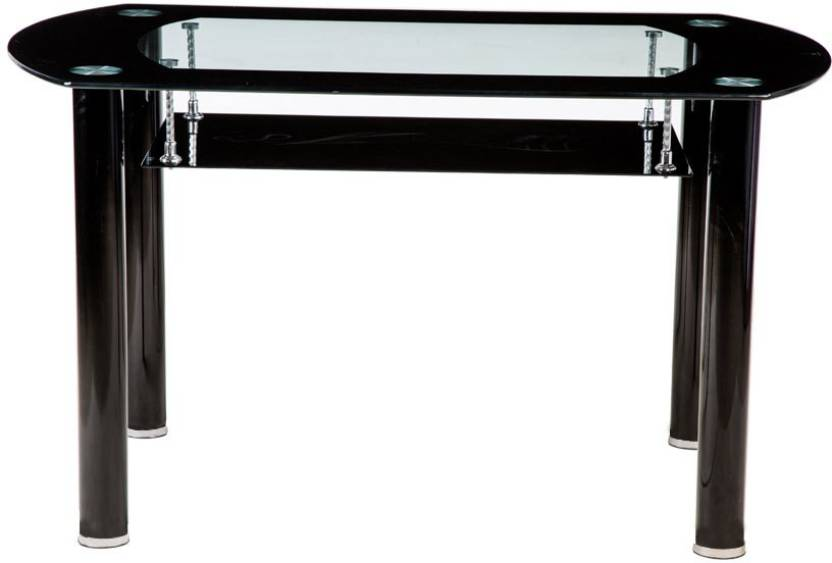 Woodness Glass 4 Seater Dining Table Finish Color   Black