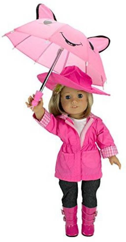 f2a5718e0565d Dress Along Dolly Clothes for American Girl Dolls  6 Piece Rain Outfit - Includes  Rain Jacket