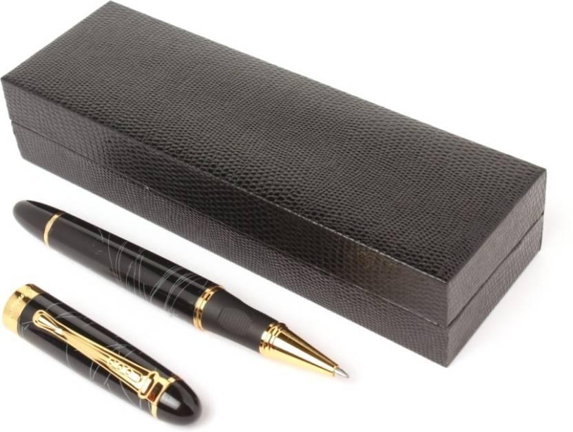 Ledos BLACK MARBLE GOLDEN TRIMS LUXURY Roller Ball Pen