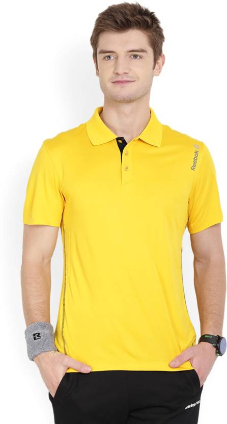 d18ac7d8 REEBOK Solid Men's Polo Neck Yellow T-Shirt - Buy Yellow REEBOK Solid Men's  Polo Neck Yellow T-Shirt Online at Best Prices in India | Flipkart.com