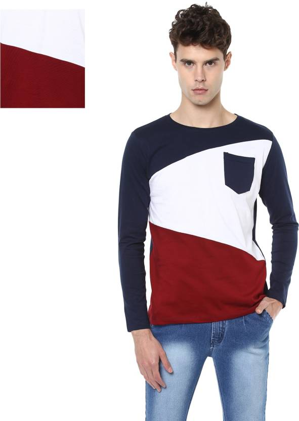 5f588b76516 Urbano Fashion Striped Men Round Neck Dark Blue, White, Maroon T-Shirt