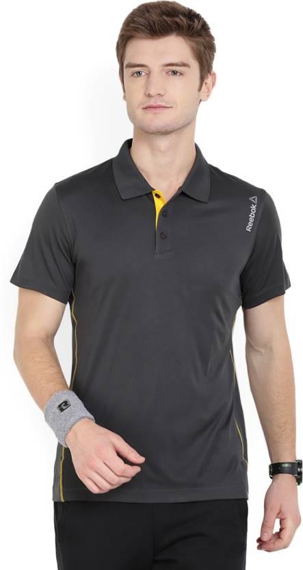 Reebok Solid Men's Polo Neck Yellow, Grey T-Shirt