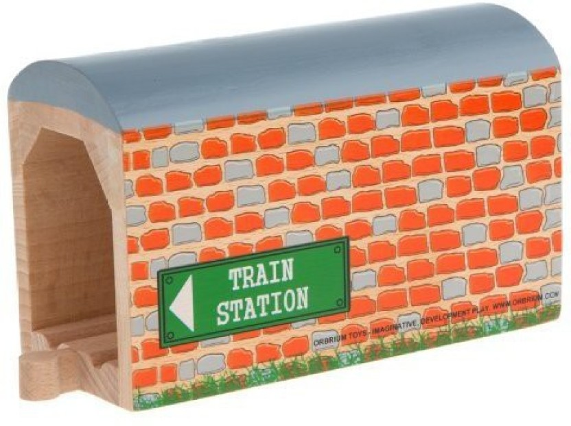 Orbrium Toys Large Wooden Train Tunnel for Wooden Railway Fits Thomas ORB-T-010