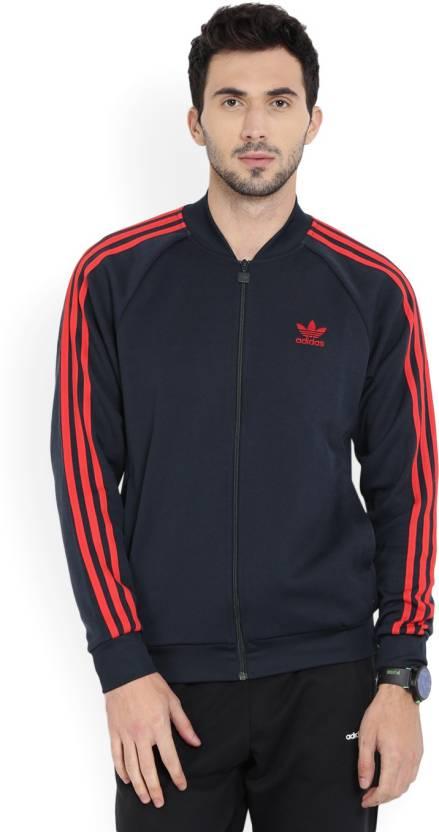 Adidas Originals Solid Men S Track Top Buy Blue Adidas Originals