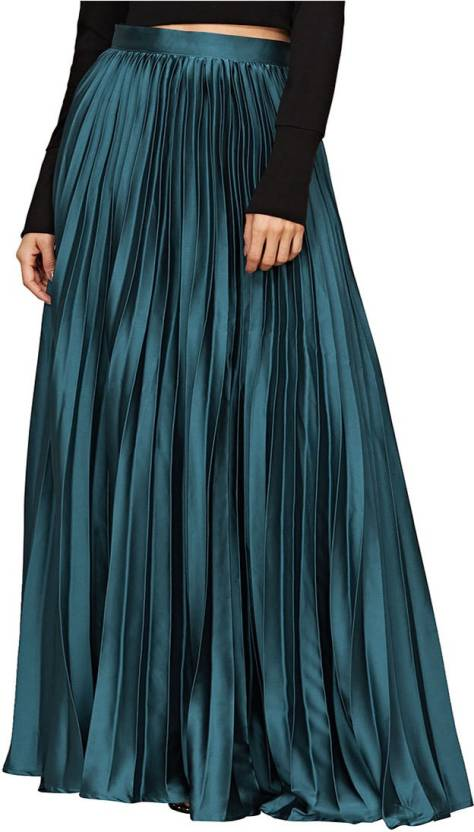 34e0f932aa04 Keiraa Solid Women Pleated Green Skirt - Buy Keiraa Solid Women Pleated  Green Skirt Online at Best Prices in India