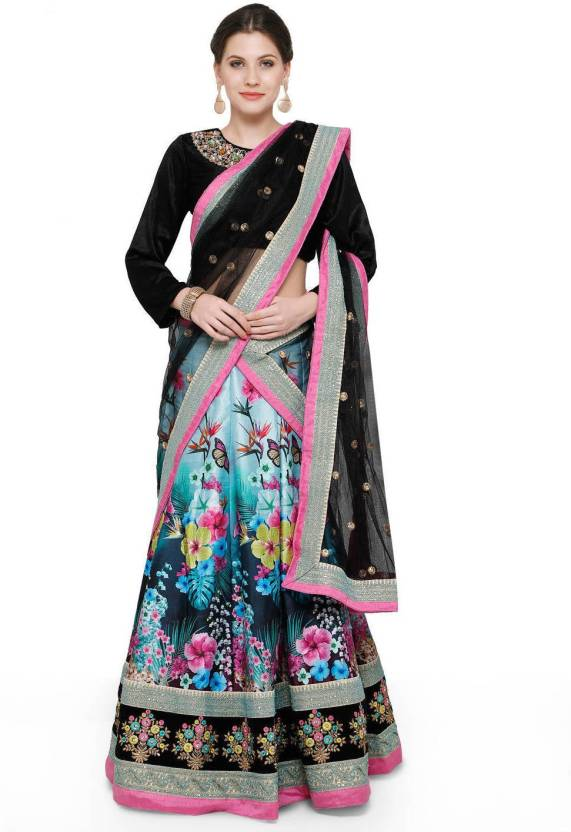 Zeel Clothing Silk Floral Print, Embroidered, Embellished Semi-stitched Lehenga Choli Material, Lehenga Choli Material