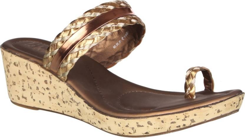 923b6c2f1 La Bella Women Gold Wedges - Buy La Bella Women Gold Wedges Online at Best  Price - Shop Online for Footwears in India