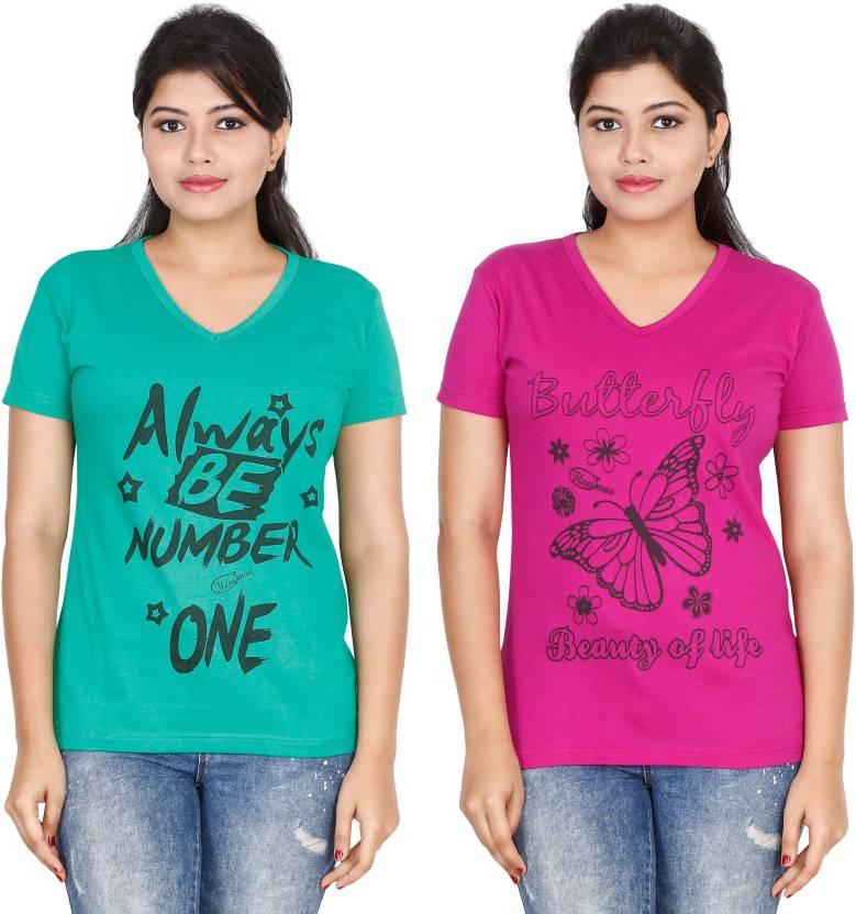 FLEXIMAA Printed Women V-neck Multicolor T-Shirt