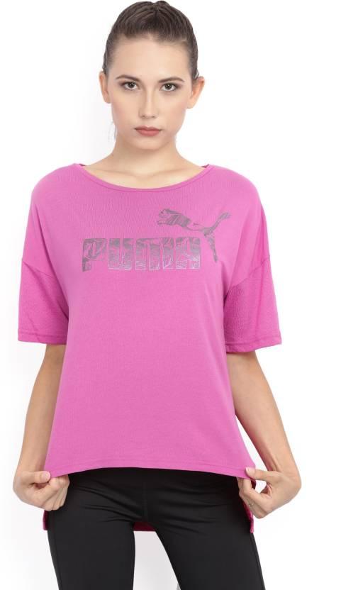 Printed Pink T Women Buy Neck Round Shirt Puma qOwPd7q