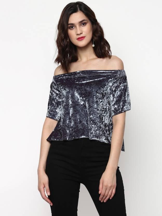 f2a5f8d5169250 Sassafras Party Half Sleeve Solid Women's Grey Top - Buy Sassafras ...