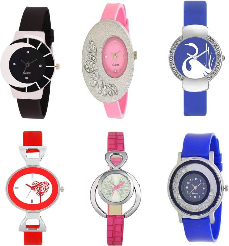SItaram New Designer Stylish Look Multicolor Watch For Girls COMBO ...
