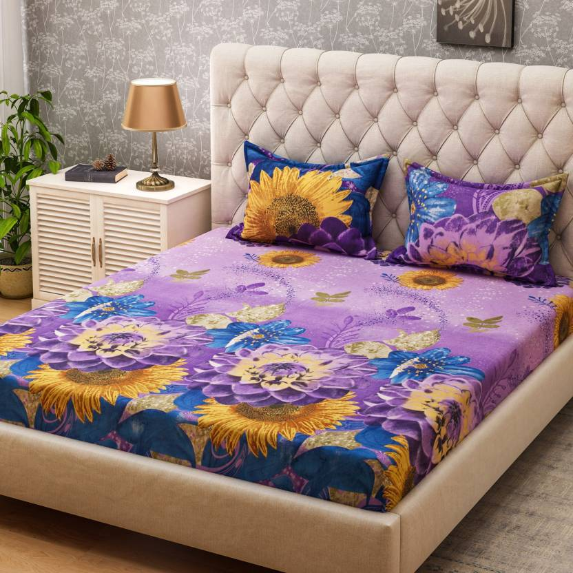 d3c4dcd776 Bombay Dyeing 160 TC Microfiber Double Floral Bedsheet (Pack of 1, Purple)