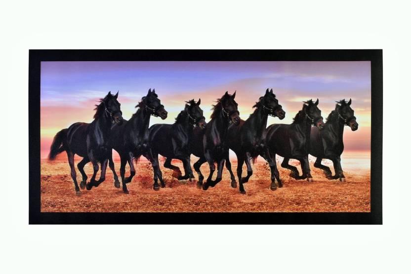 Vastu Black 7 Horses Unframed Sparkle Sticker Wall Poster 20 X 40