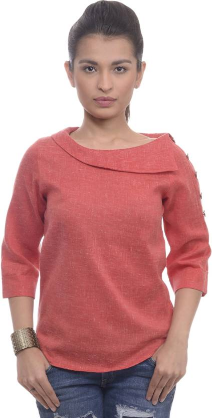 203f883b743c7 Sassy Stripes Casual 3 4th Sleeve Solid Women s Red Top
