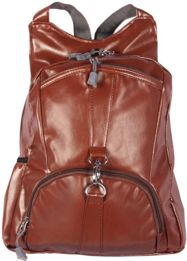 95ce1ba18bd HANDCUFFS Brown Color Leather Backpack College Bag Waterproof Backpack ( Brown, 12 inch)