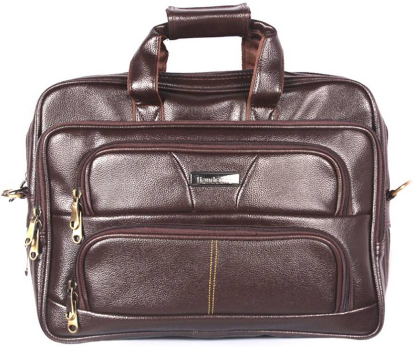 Handcuffs Leather Office Bag 16 Inch Laptop For Men Brown Waterproof Messenger