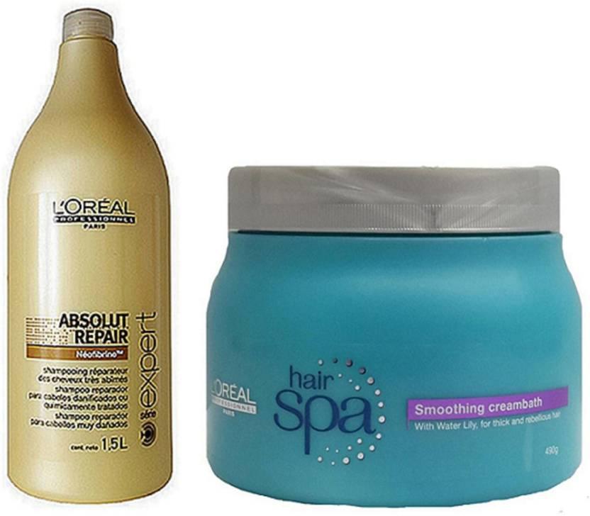 9898840a8 L'Oreal Paris Professionnel Absolut Repair Lipidium Shampoo 1.5l &  Smoothing Hair Spa 490g (Set of 1)