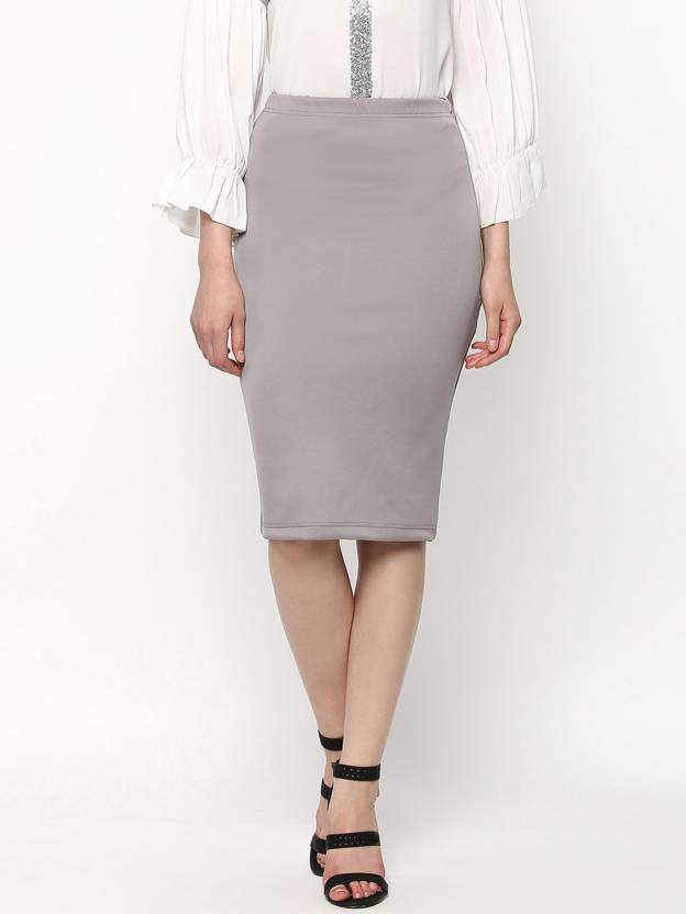 35de343004d7 Sassafras Solid Women Pencil Grey Skirt - Buy Sassafras Solid Women Pencil  Grey Skirt Online at Best Prices in India