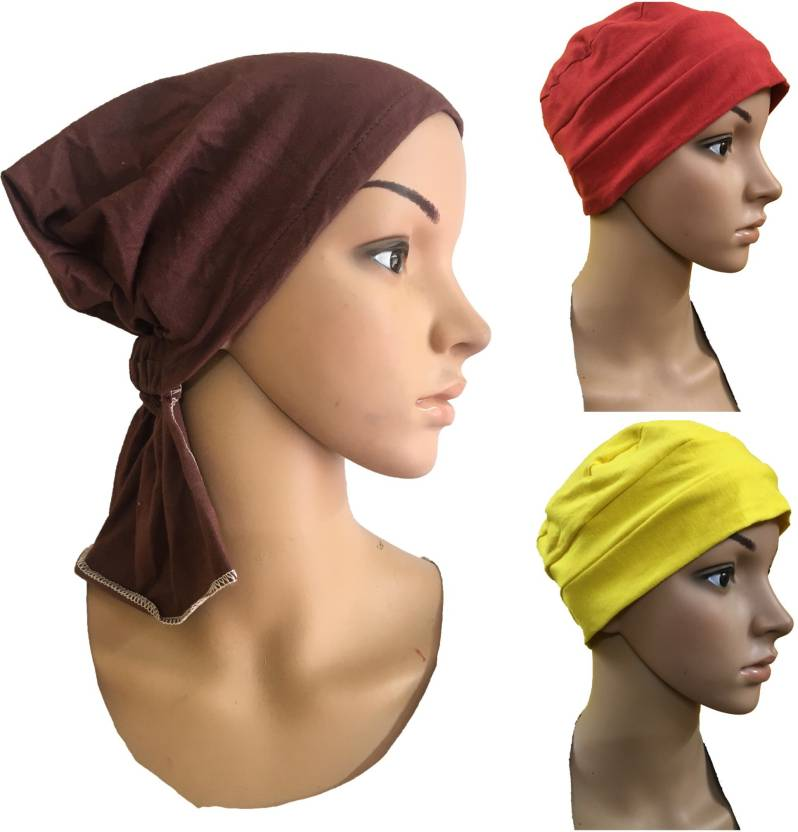 a2e431ed30c GIRIJA Solid 3 PIECES COMBO PACK OF CHEMO HEADWRAP UNDERSCARF CAPS CANCER  PATIENT CAPS WOMENS PREGNANCY HEADWRAP Cap (Pack of 3)