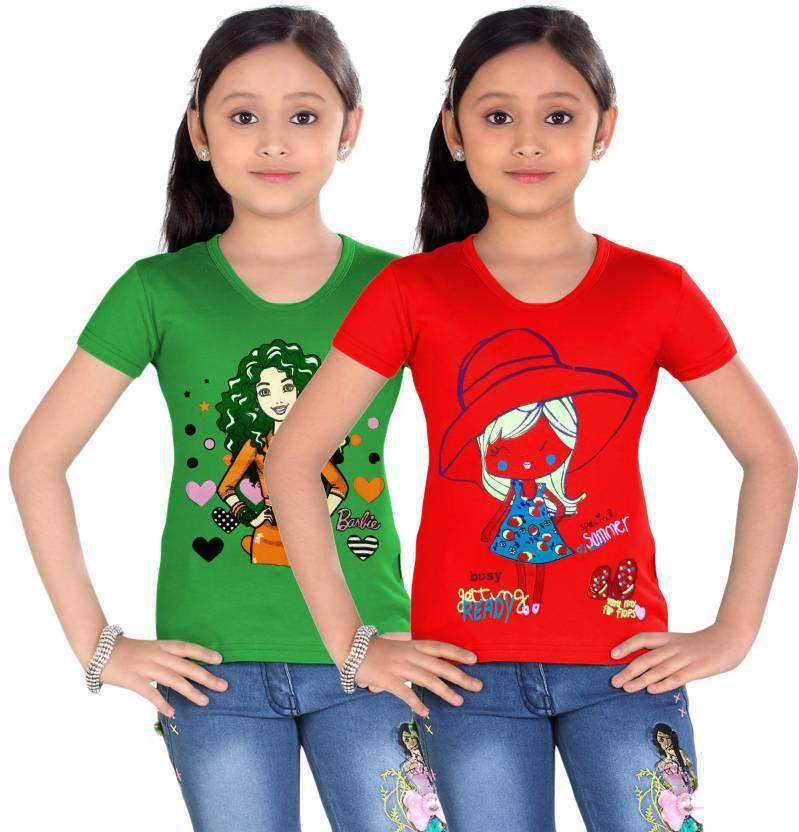 e1e1d551bec Kidzko Kids Girl Tshirt (pack of 2) Girls Printed Cotton T Shirt ...