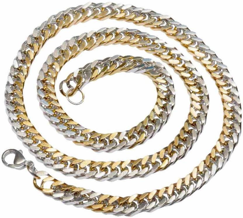 bc89bdfdfc3b8b Men Style 6mm Thickness Dual Tone Curb Cuban Link Stainless Steel Chain  Price in India - Buy Men Style 6mm Thickness Dual Tone Curb Cuban Link  Stainless ...