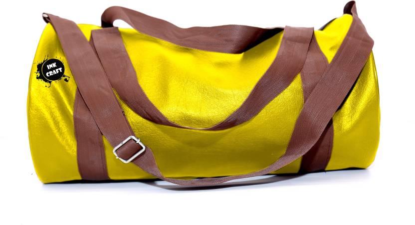 47de1480818c InkCraft Gym Bag 25Litres Leatherrite Gym Duffle Bag Dyffle Gym Bag  (Yellow