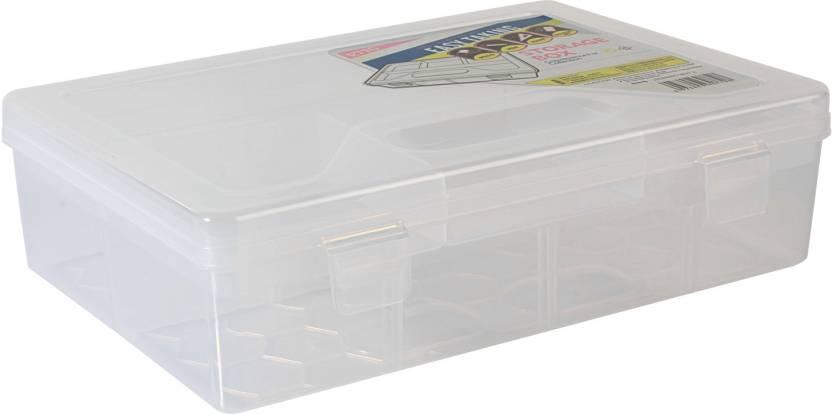 hokipo multipurpose transparent plastic storage box with removable