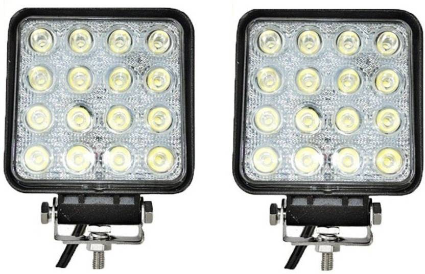 6c196498916 andride Square 16 LED 48 Watt Bike Auxillary CREE Fog Lamp Light For Flood  and For Offroad Motorcycle (Set Of 2) Car Fancy Lights (Black)