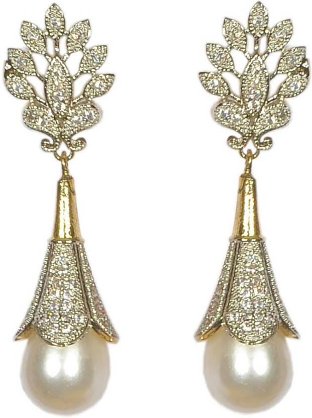 Pourni Exclusive Designer Pearl American Diamond Earring Prer101 Copper Jhumki