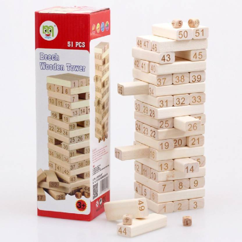 Akrobo 51 Wooden 3 Game With Dice Blocks Beach Tower Learning 3ARjL54