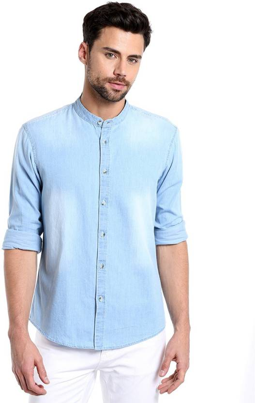 915ebf8156 Dennis Lingo Men Solid Casual Light Blue Shirt - Buy C5O3 Dennis ...