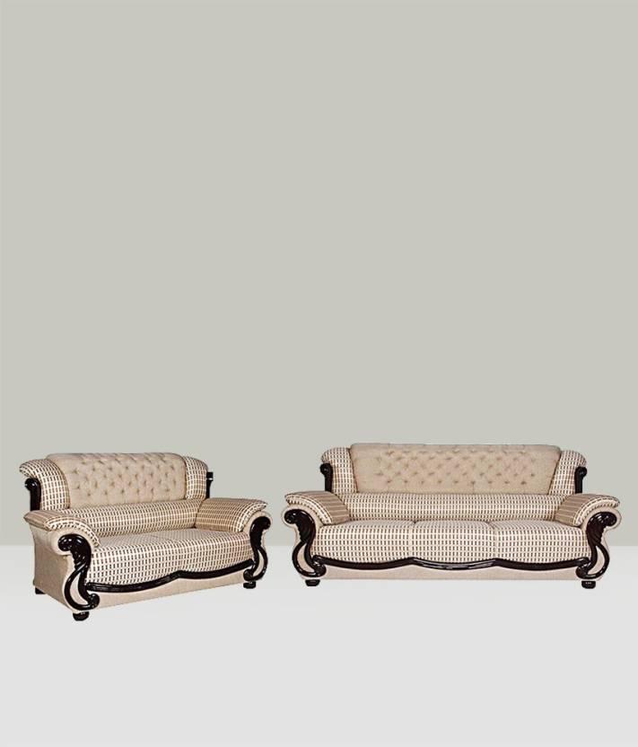 Vintage Regal Fabric 3 + 2 Beige Sofa Set