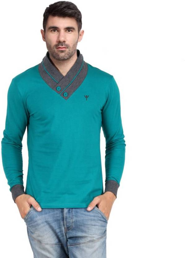 cf8239ab8ac9 Yukth Solid Men V-neck Green